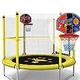 HANSHAN Gartentrampoline Trampolin, Trampolin Mit Schutzgitter Armlehnen Basketballkorb Gelb 59 ×...