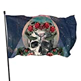 Bandera de jardín para exteriores con ojales de latón rosa mexicana de azúcar calavera mosca bandera interior decoración del hogar