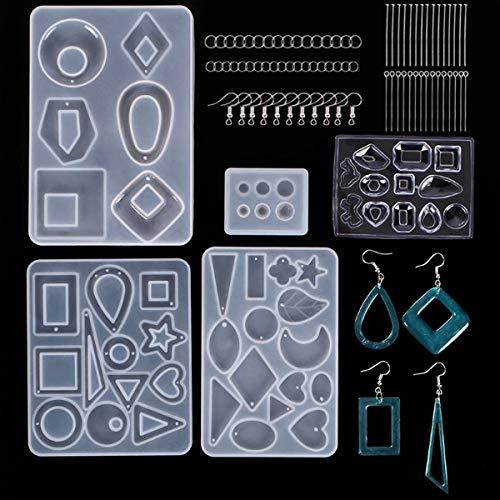 245 Pzs Moldes Silicona Resina para Hacer Joyerias, Epoxi Molde, Moldes de Resina con Pin Anillos de Salto Pendientes Accesorios para Fabricación de Hacer Joyerias Collar Pendiente Colgante Bricolaje