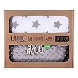 LULANDO Babydecke Kuscheldecke Krabbeldecke aus 100% Baumwolle (80x100 cm). Super weich und flauschig. Kuschelige Lieblingsdecke für Ihr Baby. Farbe: Grey - Grey Stars / White