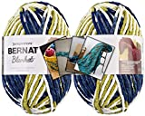 Bernat Blanket Yarn - Big Ball (10.5 oz) - 2 Pack with Pattern Cards in Color (Oceanside)