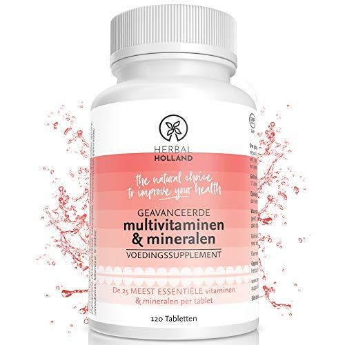 Multivitaminen & Mineralen voor Mannen Vrouwen Kind - 25 Essentiële Multi Vitamine Supplement Voor Verbeterde Gezondheid Met Vitamines A B C D E F K, Calcium Magnesium Zink IJzer Fosfor -120 Tabletten