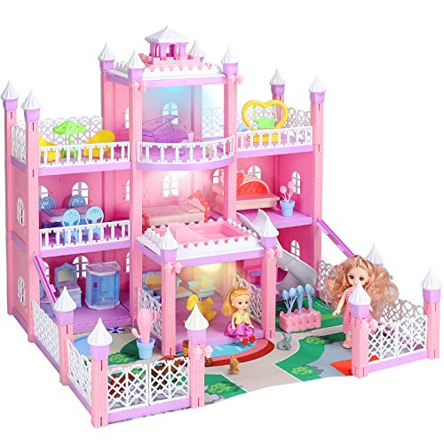 KAINSY Doll House for Girls, Large Three-Story Doll House Furniture Set And Accessories, Open Sided Princess Castle Playset Included Two Doll, Living Room, Bedroom, Kitchen,Movable Slides And Swing