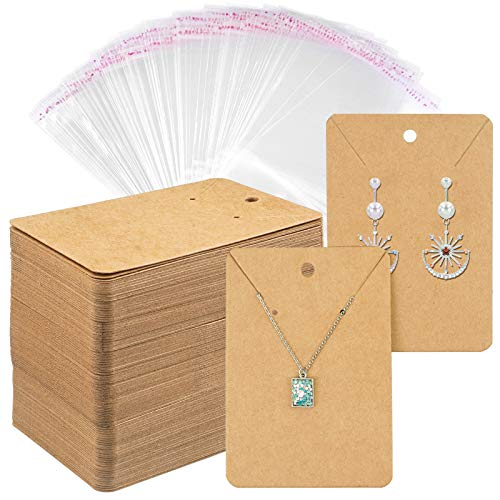 Earring Cards Necklace Display Cards with Bags,300 Pcs Earring Display Cards,300 Pcs Self-Seal Bags, Kraft Paper Tags for DIY Ear Studs(Brown)