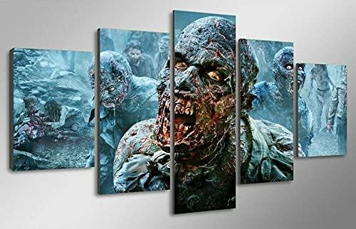 AQWSZ Cuadro En Impresión De 5 Piezas Material Tejido No Tejido Impresión Artística Imagen Gráfica Decoracion De Pared Cuadros Decoracion Laminas para Cuadros Zombies Caminando(150X80Cm)