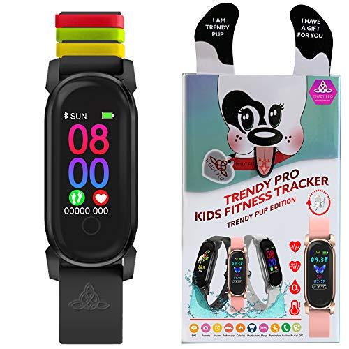 Rastreador de actividad para niños - Relojes inteligentes impermeables para niñas y niños Digital Monitor de alarma Podómetro Actividad de sueño Contador de pasos - Negro con bucles de color (plato)