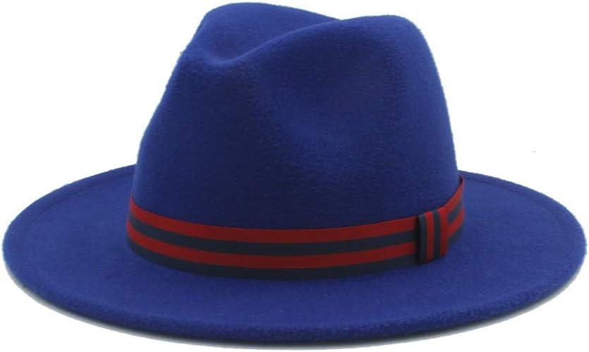 No-branded Men Women Winter Fedora Hat Casual Wild Hat Panama Hat Wide Brim Church Fascinator Hat Size 56-58CM ZRZZUS (Color : E Blue, Size : 56-58)