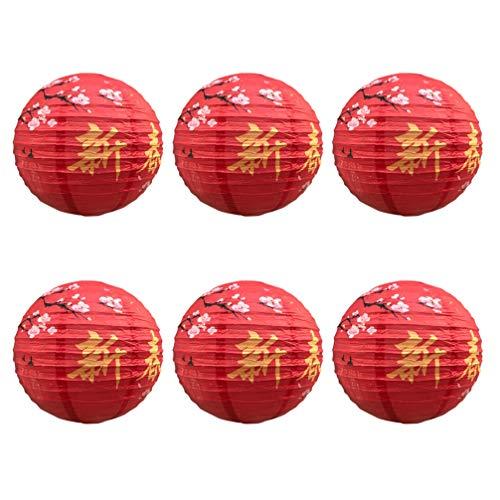 OSALADI 6 Piezas Linternas de Papel de Año Nuevo Linternas Japonesas Chinas para Decoración de Vacaciones de Fiesta de Boda (Feliz Año Nuevo 30 Cm)