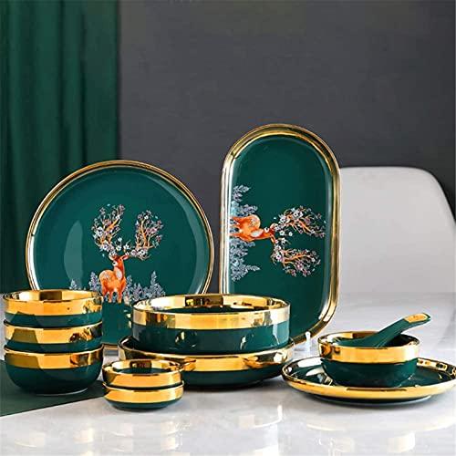 Juego de Platos, 33 PCS Conjuntos de vajilla, vajilla de porcelana ósea de estilo europeo Conjunto de placas y cuencos, Cena de cerámica de venado auspicioso verde Conjunto de cocina para casas y come