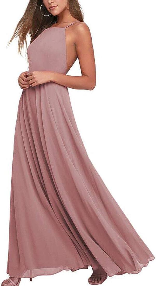 EverLove Women's Halter Backless Floor Length Prom Dress