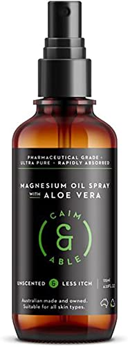 Caim & Able Magnesium Oil Spray Bottle with Aloe Vera 125ml - Less Itchy for Sensitive Skin - Australian Made Pure Am...