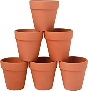YXMYH 6 Pcs Large Terracotta Pot Clay Pots 5'' Clay Ceramic Pottery Planter Cactus Flower Pots Succulent Pot Drainage Hole- for Indoor/Outdoor Plant Crafts