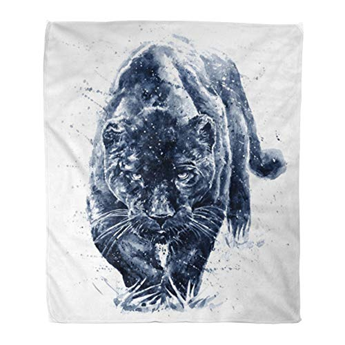 Emvency Throw Blanket Warm Cozy Print Flannel Beautiful Panther Watercolor Painting Predator Animals Jaguar Big Comfortable Soft for Bed Sofa and Couch 60x80 Inches