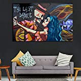 Geiqianjiumai Resumen Graffiti Street Pintura al óleo Moderna Danza Retrato impresión en Lienzo y póster Imagen Sala de Estar decoración Pintura sin Marco 60x90cm