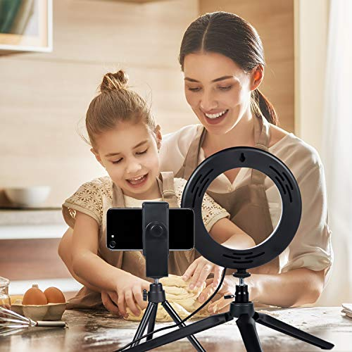 """LED Ring Light 6"""" with Tripod Stand for YouTube Video and Makeup, MACTREM Mini LED Camera Light with Cell Phone Holder Desktop LED Lamp with 3 Light Modes & 11 Brightness Level"""