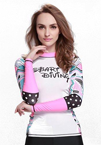 Fortuning's JDS Nouvelles élégantes UPF 50+ manches longues gardes t-shirt piscine de surf snorkeling éruption pour dames