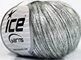 Rock Star, Silver Gray, Metallic Shine, Soft Nylon Merino Wool Acrylic Blend Yarn, 50 Gram