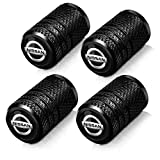 4-Piece Metal car Wheel tire Valve stem Cover is Suitable for Nissan Versa Sentra Altima Rogue Murano Pathfinder Frontier Titan Logo Decoration Accessories Black