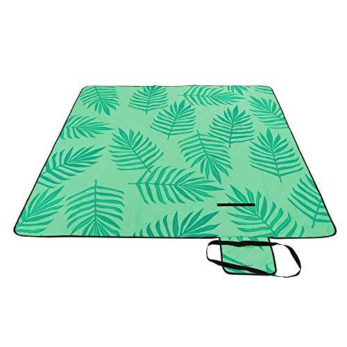 SONGMICS Picknickdecke, 300 x 200 cm große Stranddecke, Campingdecke, wasserdichte Unterseite, maschinenwaschbar, faltbar, für Garten, Park, Strand, Camping, grün mit tropischem Farn GCM083C02