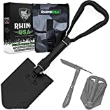 Rhino USA Folding Survival Shovel w/Pick - Heavy Duty Carbon Steel Military Style Entrenching Tool for Off Road, Camping, Gardening, Beach, Digging Dirt, Sand, Mud & Snow - [New 2021 Bag]