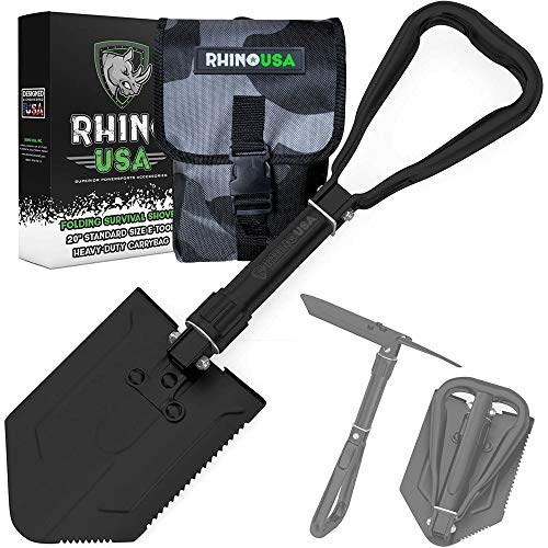 Rhino USA Survival Shovel w/Pick - Heavy Duty Carbon Steel Military Style Entrenching Tool for Off...