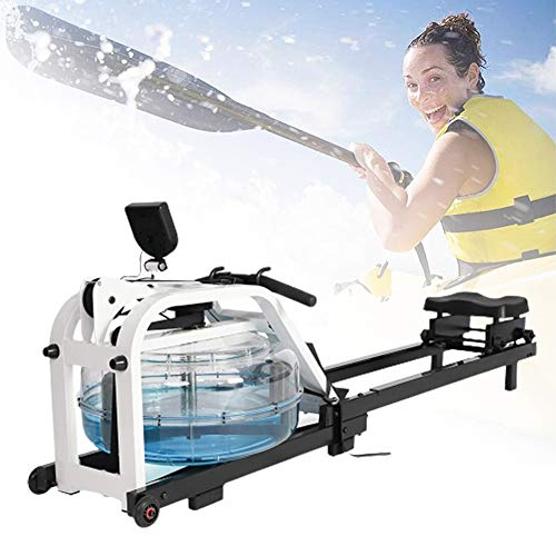 HNWTKJ Máquina de Remo para Fitness, Máquina de Remo Plegable de Interior, Reposapiés Ajustable, Máquina De Remo Interior De Madera Ajustable De Resistencia Múltiple