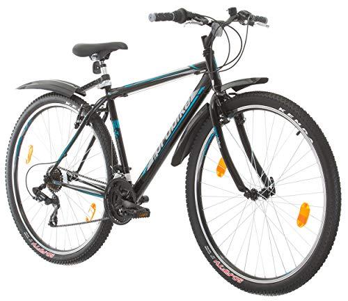 Multibrand, PROBIKE PRO 29, 29 Pollici, 483mm, Mountain Bike, Unisex, 21 velocità Shimano (Nero/Grigio-Blu + Parafango)