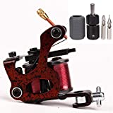 Starter Coil Tattoo Machine Gun Steel Liner Shader 10 Wraps Coils Tattoo Kit Self-lock Tattoo Grip Tube 25mm Silicone Grips Cover Tattooing Tips 5F 5R for Tattooist (Red)