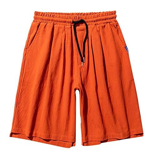 Strandshorts für Herren,Skxinn Männer Shorts Badehose, Kurze Hose,Badeshorts,Casual Shorts,Einfarbig Freizeithose,Schnelltrocknend Trouser mit Kordelzug,Größe M-5XL Ausverkauf(Orange,XXXXX-Large)