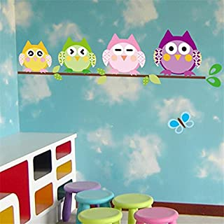 A/N 4 Cute owlets Wall Stickers Kids Room Decoration Animal adesivo de paredes Home Decals Cartoon Mural Art Childrens Gift