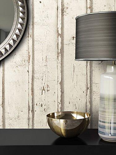 *Tapete Vlies Antik Holz Muster in Creme Weiß | schöne edle Tapete im Antikholz Design | moderne 3D Optik für Wohnzimmer, Schlafzimmer oder Küche inkl. Newroom-Tapezier-Profibroschüre mit super Tipps!*