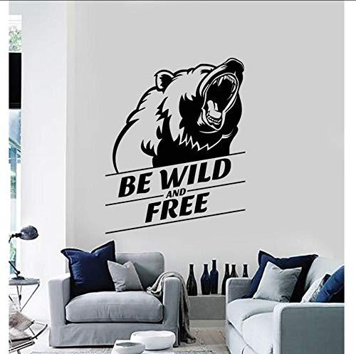 Layyyqx Vinyl Wandtattoos Wild Und Frei Grizzly Kopf Tier Aufkleber Wandbilder Wohnkultur Wohnzimmer Wand Mode Aufkleber 57X72Cm