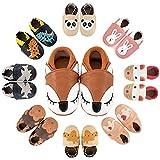 MARITONY Baby Krabbelschuhe Leder Lauflernschuhe Jungen Mädchen Babyschuhe Weicher Leder Kleinkind Hausschuhe mit Rutschfesten Wildledersohlen 6-12 Monate BrownFox