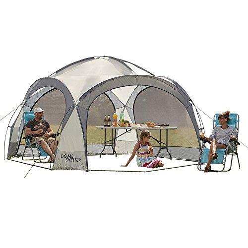 Garden Gear, Tenda a Cupola per Eventi all'aperto, Protezione dai Raggi UV, con 4 pareti in Rete Rimovibili, 2 Parasole Rimovibili, Misure L363,5 x 361 x 235,5 cm (Argento)