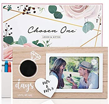 Chosen One Wedding Countdown Photo Frame - Couples 6x4 Photo Frame Love Picture Frame with Tiny Chalkboard and Chalk! Mr and Mrs Sign for Bridal Shower Gifts Engagement Gifts Personalized Frames