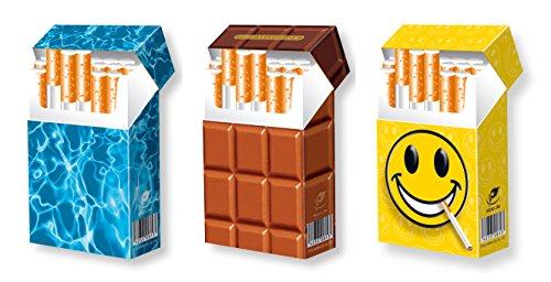 slipp overall - 3er Set - Pool + Schokolade + Smiley - originelle Zigarettenschachtel Überzieher/komplette Hülle für Ihre Zigarettenpackung mit Deckel - Material: KARTON - Trendige Zigarettenbox