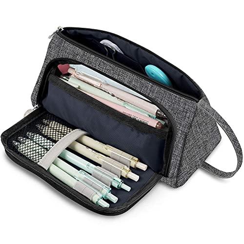 Estuche para lápices de gran capacidad, bolsa de maquillaje, bolsa de almacenamiento, color gris