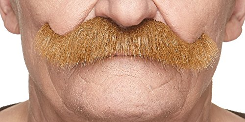 Mustaches Fake Mustache, Self Adhesive, Novelty, Rocking Grandpa's False Facial Hair, Costume Accessory for Adults, Chestnut Color