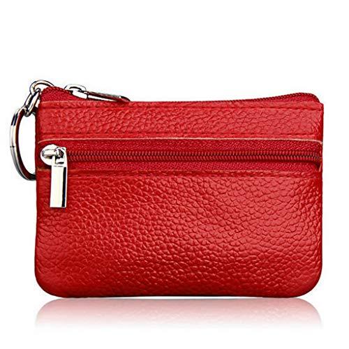 Cansenty Geldbörse für Kreditkarten, Münzen, Schlüsselhalter, Reißverschluss, echtes Leder rot