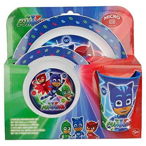 PJ Masks 9900, Set melamina, vajilla melamina, Compuesto por Plato, Vaso y Cuenco. NO BPA