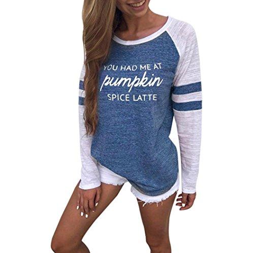 OVERDOSE Mode Damen Frauen Rundhals Lange Hülsen Spleiß Blusen Oberseiten Kleidung T-Shirt Tops Pullover (XL, S-Blue)