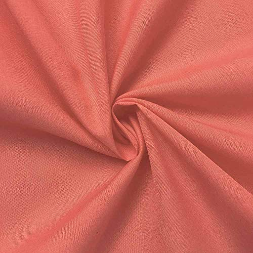 """Cotton Polyester Broadcloth Fabric Premium Apparel Quilting 45"""" (1 Yard, Coral)"""