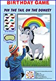 Donkey Party Game Set Includes: 1pc 29 x 19 inch large waterproof donkey poster 24 pcs donkey tail stickers and 1pc Eye mask Give one tail sticker to each kid and they have to write their names on it. Each kid will see the picture of Donkey and the t...