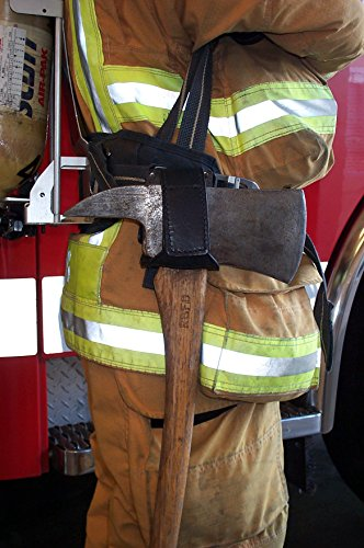 LINE2design Firefighter Fire Axe Cradle Holder - Portable Heavy Duty Secure Reflective Trim 360 Degree Swivel Leather with Two Stainless Steel Belt Clips - Black