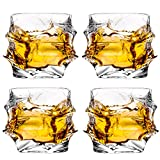 Glaskey set di 4bicchieri da whisky, cristallo senza piombo bicchieri, cocktail Cool Rocks bicchiere per whisky, brandy e più irlandese, bourbon, scotch occhiali NO.25 Clear