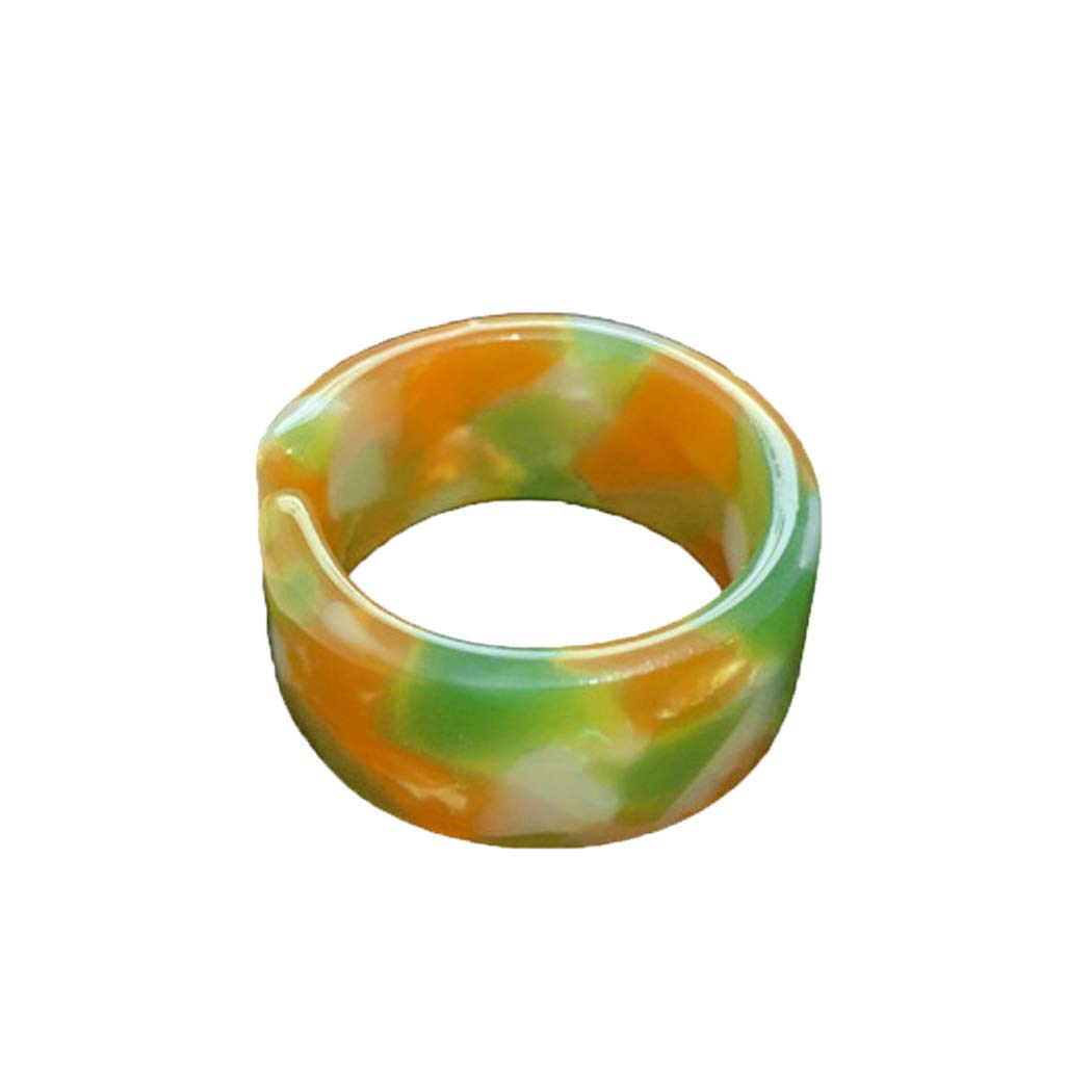 Edary Chunky Acrylic Knuckle Rings Resin Statement Rings Index Finger Band Ring Adjustable Opening Mid Rings Jewelry Gifts for Women and Girls (Orange)