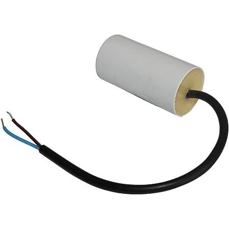 AERZETIX - Condensateur Permanent de Travail pour Moteur - 16µF 450V - ⌀40/78mm - à câble - Corps en Plastique Cylindrique Blanc - C10223