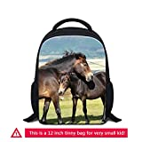 ZRENTAO Nursery Kids School Bags Mini Shoulder Backpack Bookbags for Baby Boy Girl Under 5 Age,Horse Pattern