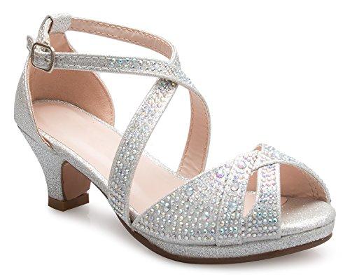 Olivia K Girl's Cute Adorable Strappy Glitter Open Toe Heel Sandals - Adjustable Buckle, Silver 4