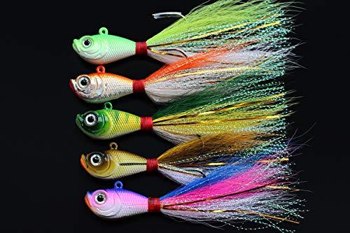 Tigofly 5 anzuelos de Pesca de 5 Colores, 14 g, 28 g, 56 g, Cabeza de Plomo, Anzuelo de Pesca de Hielo, Cebo, señuelos de Pesca, Small 14g